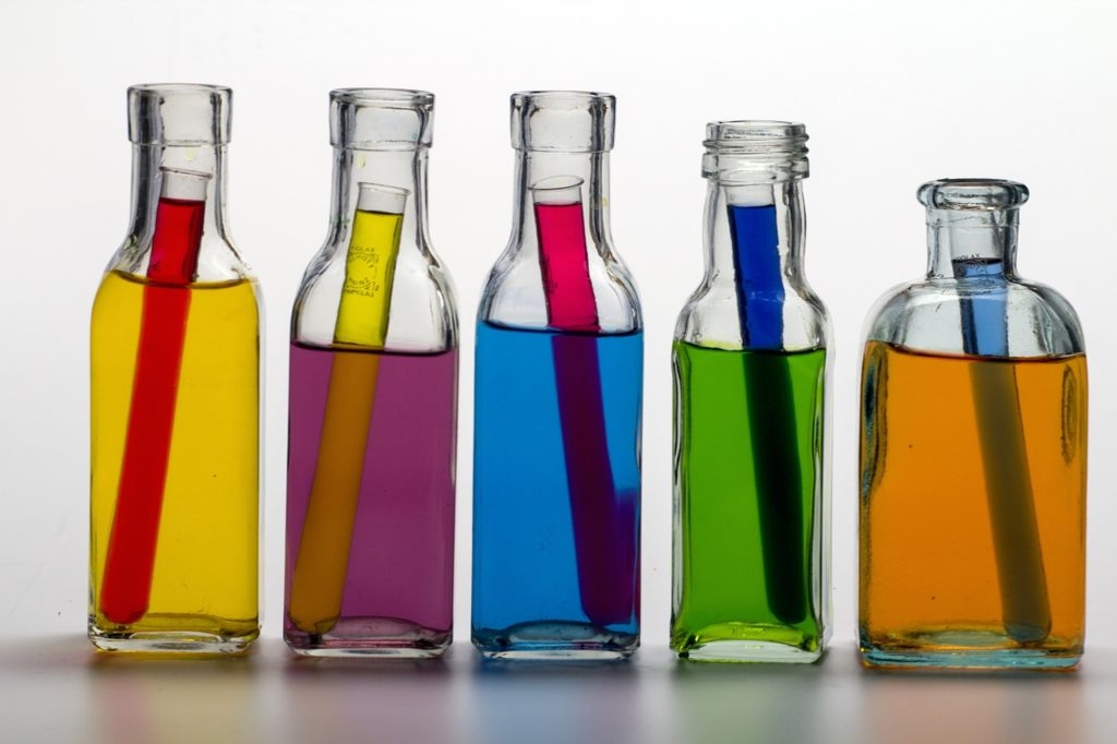 Colored flasks with test tubes