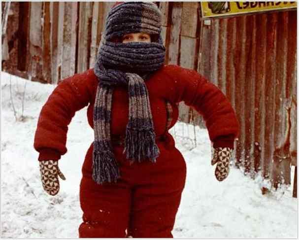 Ralphie in a snowsuit