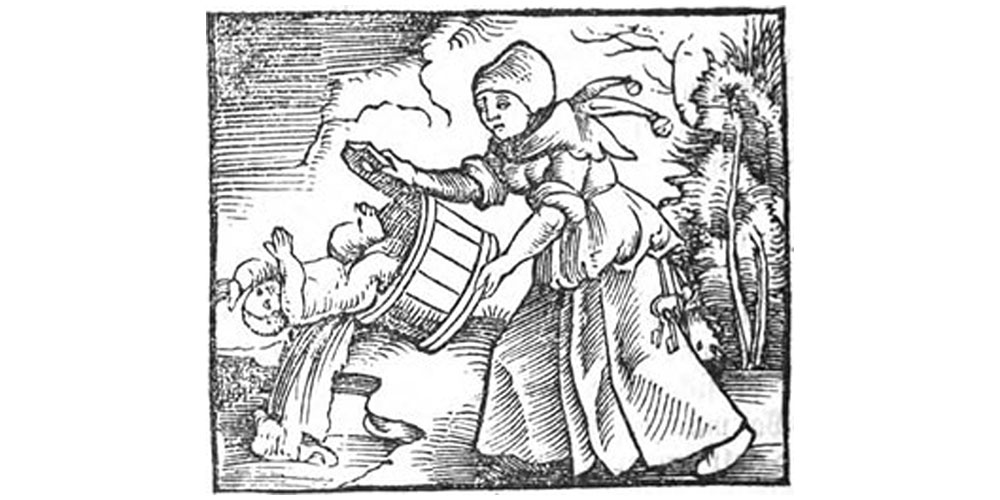 medieval woman throwing out bathwater with a baby in it